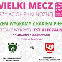 LKS Niegowić Zieloni kontra Reprezentacja Nauczycieli Gminy Gdów- wielki  mecz w szczytnym celu