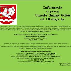Informacja o pracy Urzędu Gminy w Gdowie od 18 maja br.