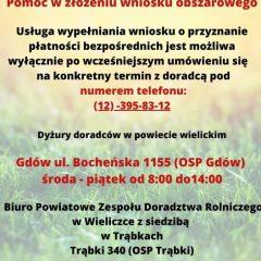 Informacja dotycząca wznowienia dyżuru doradców Powiatowego Zespołu Doradztwa Rolniczego w naszej gminie