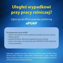Zgłoszenie wypadku przy pracy rolniczej możliwe także przez ePUAP